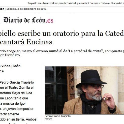 TRAPIELLO ESCRIBE UN ORATORIO QUE CANTARÁ ENCINAS CON MÚSICA DE IGOR ESCUDERO